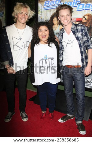 LOS ANGELES - FEB 10: Ross Lynch, Raini Rodriguez, Calum Worthy at the screening of the Disney Channel Original Movie 'Bad Hair Day' at the Frank G Wells Theater on February 10, 2015 in Burbank, CA - stock photo