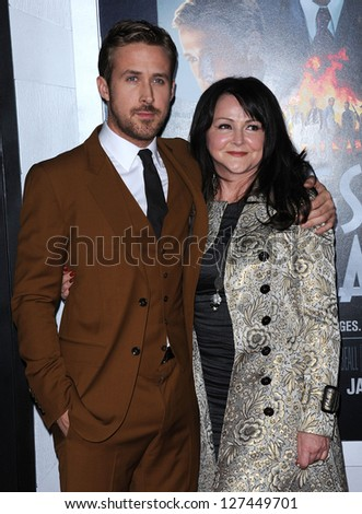 """LOS ANGELES - FEB 05:  Ryan Gosling and Mother arrives to the """"Gangster Squad"""" Los Angeles Premiere  on January 07, 2013 in Hollywood, CA - stock photo"""