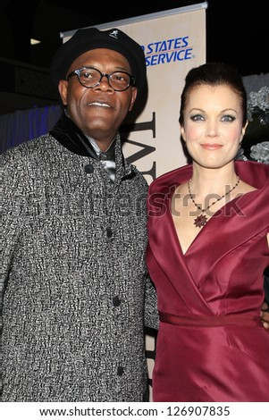 LOS ANGELES - FEB 1: Samuel L Jackson, Bellamy Young in the Bellafortuna Entertainment gifting suite at the NAACP awards on February 1, 2013 in Los Angeles, California - stock photo