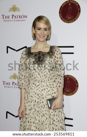 LOS ANGELES - FEB 14: Sarah Paulson at the Make-Up Artists & Hair Stylists Guild Awards at the Paramount Theater on February 14, 2015 in Los Angeles, CA - stock photo