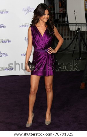 """LOS ANGELES - FEB 8:  Selena Gomez arrives at the """"Never Say Never"""" Premiere at Nokia Theater  on February 8, 2011 in Los Angeles, CA - stock photo"""