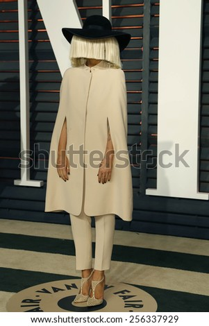 LOS ANGELES - FEB 22:  Sia at the Vanity Fair Oscar Party 2015 at the Wallis Annenberg Center for the Performing Arts on February 22, 2015 in Beverly Hills, CA - stock photo