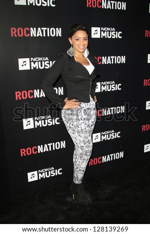 LOS ANGELES - FEB 9:  Staci Harris arrives at the ROC NATION Annual Pre-Grammy Brunch at the Soho House on February 9, 2013 in West Hollywood, CA - stock photo