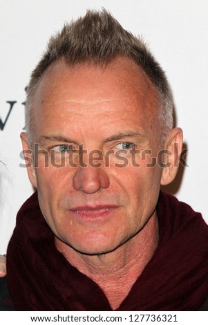 LOS ANGELES - FEB 9:  Sting arrives at the Clive Davis 2013 Pre-GRAMMY Gala at the Beverly Hilton Hotel on February 9, 2013 in Beverly Hills, CA