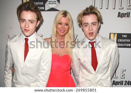 """LOS ANGELES - FEB 14:  Tara Reid, Jedwards at the """"Little Boy"""" Los Angeles Premiere at the Regal 14 Theaters on April 14, 2015 in Los Angeles, CA - stock photo"""