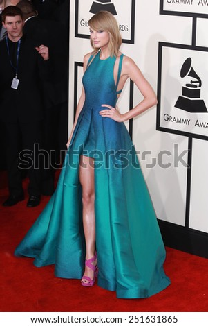 LOS ANGELES - FEB 8:  Taylor Swift at the 57th Annual GRAMMY Awards Arrivals at a Staples Center on February 8, 2015 in Los Angeles, CA - stock photo