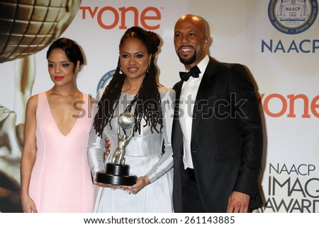 LOS ANGELES - FEB 6:  Tessa Thompson, Ava DuVernay, Common at the 46th NAACP Image Awards Press Room at a Pasadena Convention Center on February 6, 2015 in Pasadena, CA - stock photo