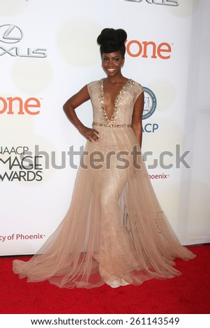 LOS ANGELES - FEB 6:  Teyonah Parris at the 46th NAACP Image Awards Arrivals at a Pasadena Convention Center on February 6, 2015 in Pasadena, CA - stock photo