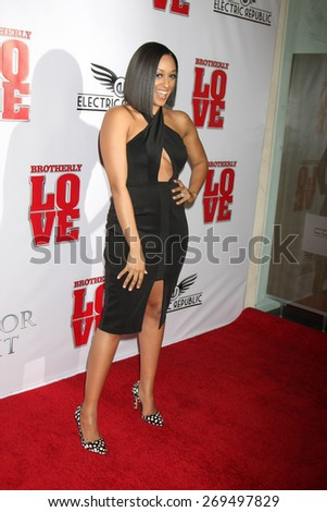 "LOS ANGELES - FEB 13:  Tia Mowry at the ""Brotherly Love"" LA Premiere at the Silver Screen Theater at the Pacific Design Center on April 13, 2015 in West Hollywood, CA - stock photo"