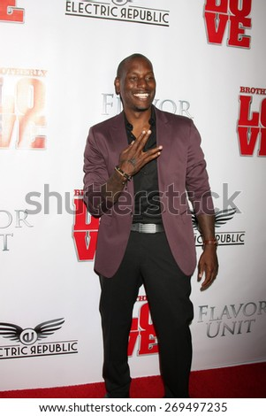 """LOS ANGELES - FEB 13:  Tyrese Gibson at the """"Brotherly Love"""" LA Premiere at the Silver Screen Theater at the Pacific Design Center on April 13, 2015 in West Hollywood, CA - stock photo"""