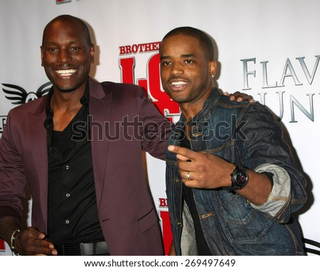 """LOS ANGELES - FEB 13:  Tyrese Gibson, Larenz Tate at the """"Brotherly Love"""" LA Premiere at the Silver Screen Theater at the Pacific Design Center on April 13, 2015 in West Hollywood, CA - stock photo"""