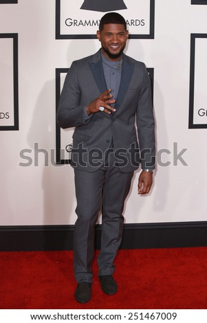 LOS ANGELES - FEB 8:  Usher at the 57th Annual GRAMMY Awards Arrivals at a Staples Center on February 8, 2015 in Los Angeles, CA - stock photo