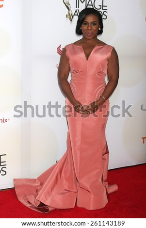 LOS ANGELES - FEB 6:  Uzo Aduba at the 46th NAACP Image Awards Arrivals at a Pasadena Convention Center on February 6, 2015 in Pasadena, CA - stock photo