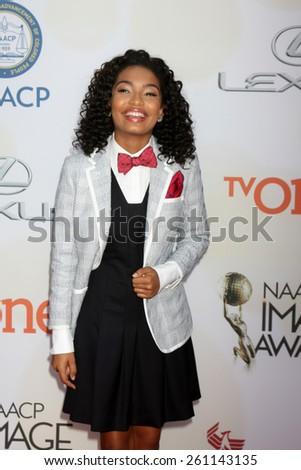 LOS ANGELES - FEB 6:  Yara Shahidi at the 46th NAACP Image Awards Arrivals at a Pasadena Convention Center on February 6, 2015 in Pasadena, CA - stock photo
