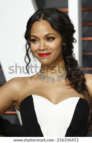 LOS ANGELES - FEB 22:  Zoe Saldana at the Vanity Fair Oscar Party 2015 at the Wallis Annenberg Center for the Performing Arts on February 22, 2015 in Beverly Hills, CA - stock photo