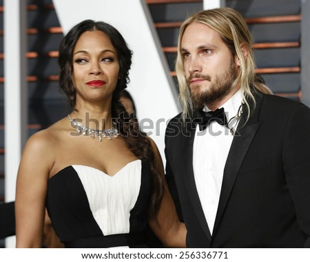 LOS ANGELES - FEB 22:  Zoe Saldana, Marco Perego at the Vanity Fair Oscar Party 2015 at the Wallis Annenberg Center for the Performing Arts on February 22, 2015 in Beverly Hills, CA - stock photo