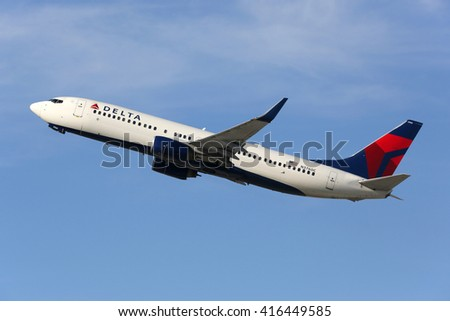 LOS ANGELES - FEBRUARY 22: A Delta Air Lines Boeing 737-800 takes off on February 22, 2016 in Los Angeles. Delta Air Lines is an American airline headquartered in Atlanta. - stock photo