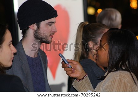 LOS ANGELES - FEBRUARY 1: Actor Tom Sturridge at the premiere of his latest movie Waiting For Forever at the Pacific Theatre at The Grove February 1, 2011 in Los Angeles, CA - stock photo