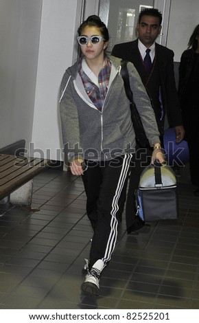 LOS ANGELES-FEBRUARY 26: Singer Madonna's daughter Lourdes is seen at LAX. February 26, 2010 in Los Angeles, California - stock photo