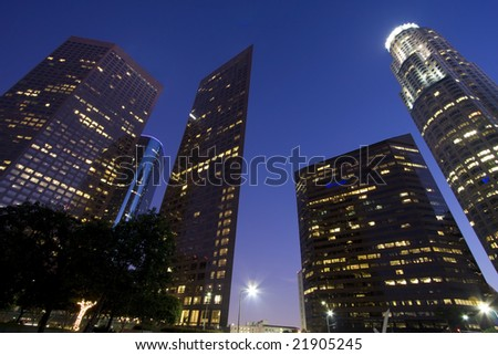 Los Angeles financial district at twilight - stock photo
