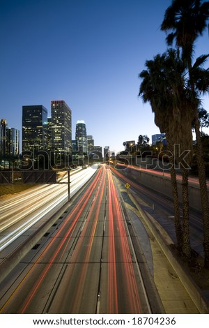 Los Angeles freeway at night - stock photo
