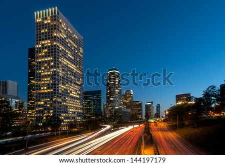 Los angeles freeway city - stock photo