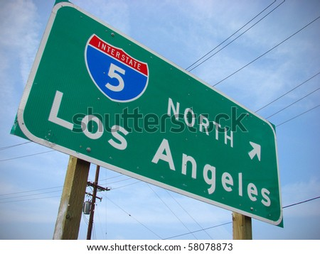 Los Angeles freeway interstate sign - stock photo