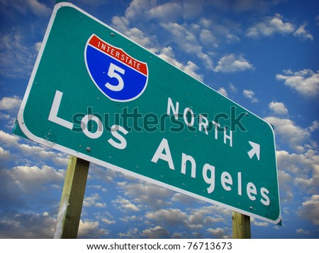 los Angeles freeway north sign with cloudy sky. - stock photo
