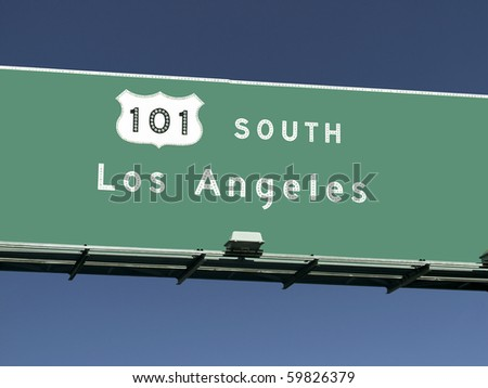 Los Angeles 101 freeway sign in Southern California. - stock photo