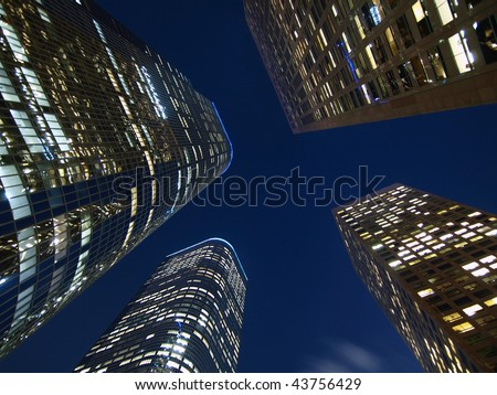 Los Angeles high rise towers at night. - stock photo