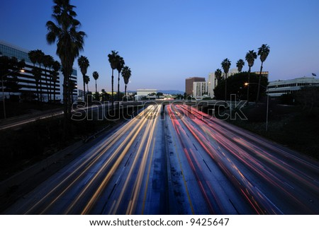 Los Angeles Highway at dusk - stock photo