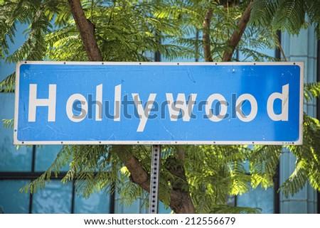 Los Angeles Hollywood Boulevard street sign - stock photo