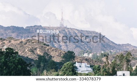 Los angeles, Hollywood,Ca. 16th october, 2015. The hollywood sign.  It is situated on Mount Lee, in the Hollywood Hills area of the Santa Monica Mountains. The sign overlooks Hollywood, Los Angeles. - stock photo