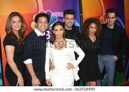 LOS ANGELES - JAN 13:  Alex Meneses, Izzy Diaz, Eva Longoria, Jencarlos Canela, Diana-Maria Riva, Jose Moreno Brooks at the NBC TCA at the Langham Huntington Hotel on January 13, 2016 in Pasadena, CA