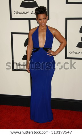 LOS ANGELES - JAN 26:  Alicia Keys arrives at the 56th Annual Grammy Awards Arrivals  on January 26, 2014 in Los Angeles, CA                 - stock photo