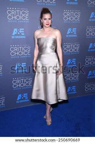 LOS ANGELES - JAN 16:  Amy Adams arrives to the Critics' Choice Awards 2015  on January 16, 2015 in Hollywood, CA                 - stock photo