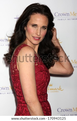 LOS ANGELES - JAN 11:  Andie MacDowell at the Hallmark Winter TCA Party at The Huntington Library on January 11, 2014 in San Marino, CA