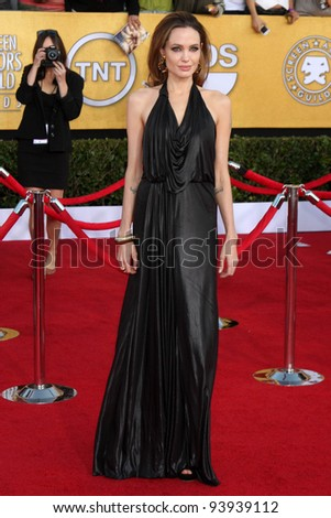 LOS ANGELES - JAN 29:  Angelina Jolie arrives at the 18th Annual Screen Actors Guild Awards at Shrine Auditorium on January 29, 2012 in Los Angeles, CA - stock photo