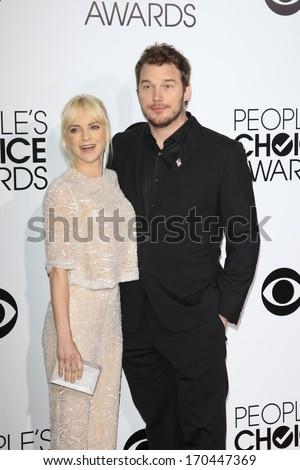 LOS ANGELES - JAN 8:  Anna Faris, Chris Pratt at the People's Choice Awards 2014 Arrivals at Nokia Theater at LA LIve on January 8, 2014 in Los Angeles, CA - stock photo