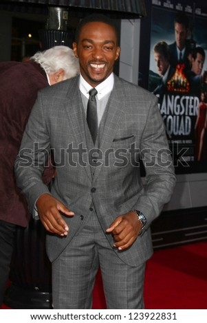 LOS ANGELES - JAN 7:  Anthony Mackie arrives at the 'Gangster Squad' Premiere at Graumans Chinese Theater on January 7, 2013 in Los Angeles, CA - stock photo