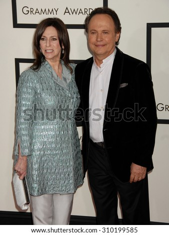 LOS ANGELES - JAN 26:  Billy Crystal and wife Janice arrives at the 56th Annual Grammy Awards Arrivals  on January 26, 2014 in Los Angeles, CA                 - stock photo