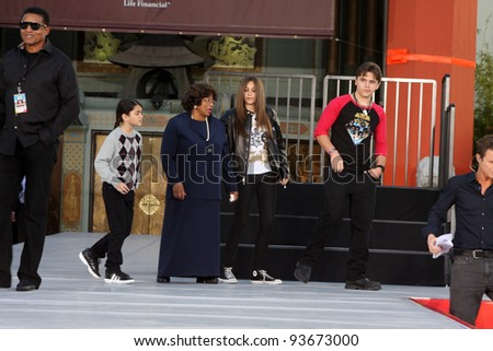 LOS ANGELES - JAN 26:  Blanket, Katherine, Paris, Prince Jackson at the Michael Jackson Immortalized  Handprint and Footprint Ceremony at Graumans Chinese Theater on January 26, 2012 in LA, CA - stock photo