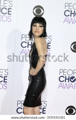LOS ANGELES - JAN 6:  Carly Rae Jepsen at the Peoples Choice Awards 2016 - Arrivals at the Microsoft Theatre L.A. Live on January 6, 2016 in Los Angeles, CA - stock photo