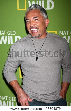 "LOS ANGELES - JAN 3:  Cesar Millan arrives at the National Geographic Channels' ""2013 Winter TCA"" Cocktail Party. at Langham Huntington Hotel on January 3, 2013 in Pasadena, CA - stock photo"