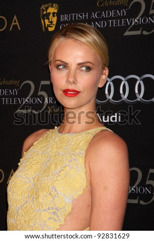 LOS ANGELES - JAN 14:  Charlize Theron arrives at  the BAFTA Award Season Tea Party 2012 at Four Seaons Hotel on January 14, 2012 in Beverly Hills, CA - stock photo