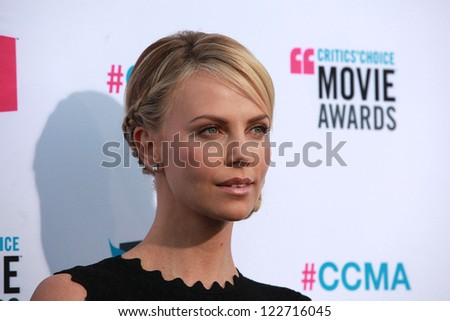 LOS ANGELES - JAN 12:  CHARLIZE THERON arriving to Critic's Choice Movie Awards 2012  on January 12, 2012 in Hollywood, CA - stock photo
