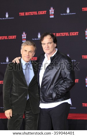 LOS ANGELES - JAN 5: Christoph Waltz, Quentin Tarantino at a ceremony as Quentin Tarantino is honored with hand & footprints at the TCL Chinese Theatre IMAX on January 5, 2016 in Los Angeles, CA