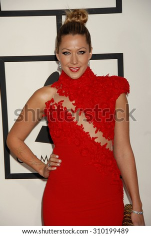 LOS ANGELES - JAN 26:  Colbie Caillat arrives at the 56th Annual Grammy Awards Arrivals  on January 26, 2014 in Los Angeles, CA                 - stock photo