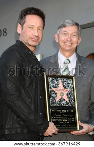 LOS ANGELES - JAN 25:  David Duchovny, Leron Gubler at the David Duchovny Hollywood Walk of Fame Star Ceremony at the Fox Theater on January 25, 2016 in Los Angeles, CA - stock photo