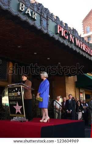LOS ANGELES - JAN 3:  David Mamet, Helen Mirren at the Hollywood Walk of Fame Star Ceremony for Helen Mirren at Pig 'n Whistle on January 3, 2013 in Los Angeles, CA - stock photo
